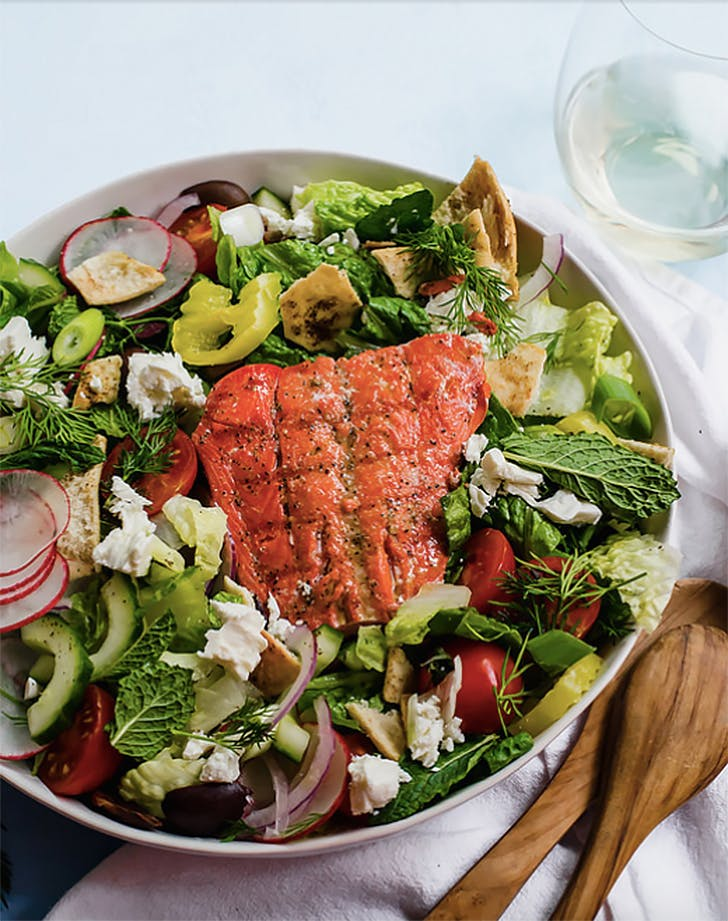 greek fattoush salad with grilled salmon red wine vinaigrette recipe