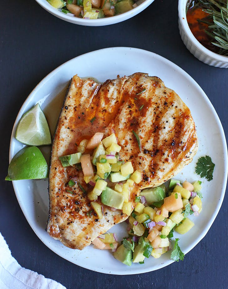grilled swordfish with smoked paprika and herbed fruit salsa recipe