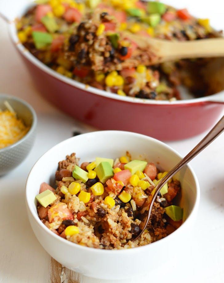 healthy chicken burrito bowl casserole recipe
