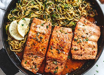 lemon butter salmon with zucchini noodles recipe 290