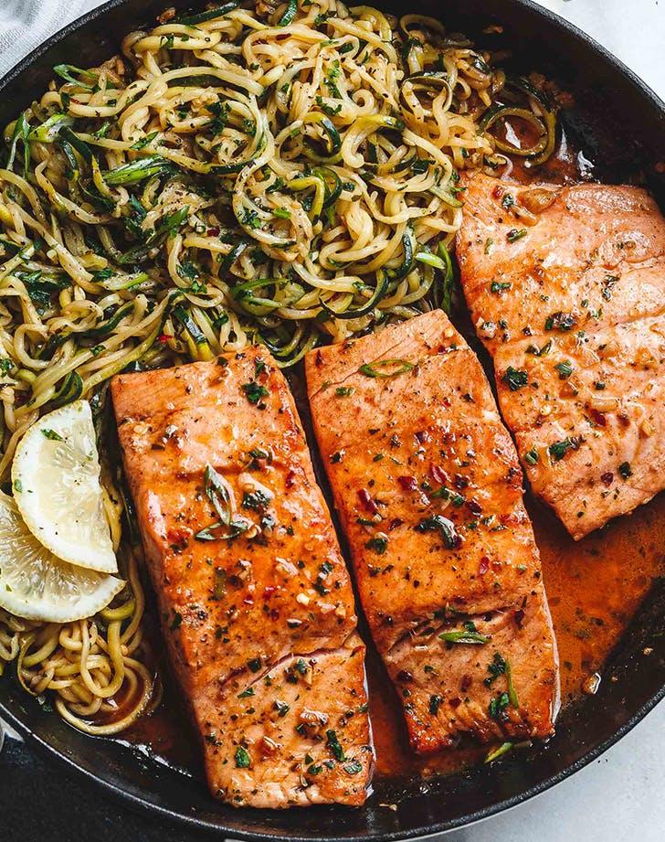 lemon butter salmon with zucchini noodles recipe