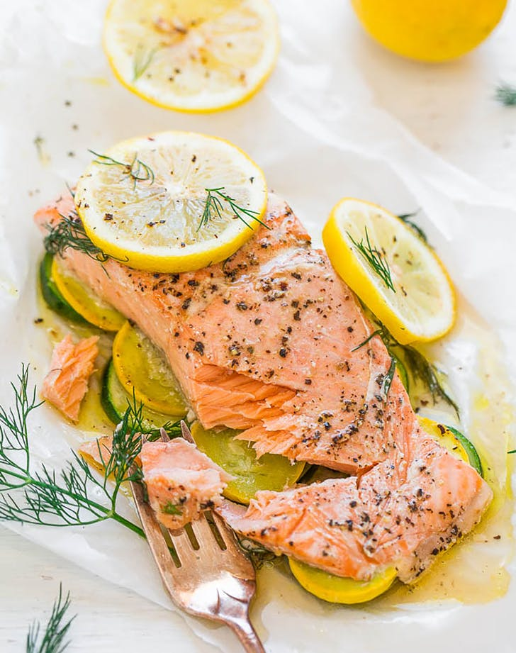 lemon dill salmon with vegetables in parchment recipe
