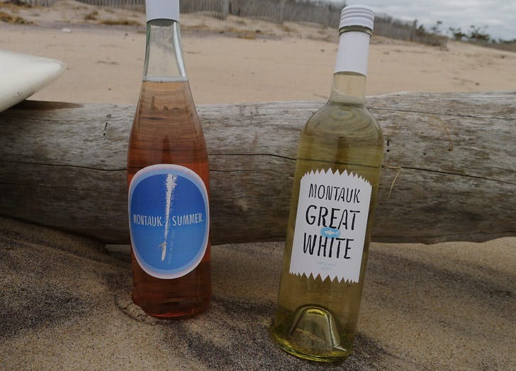montauk white wine bottles beach