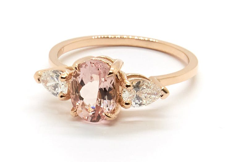 morganite healing crystal engagment ring