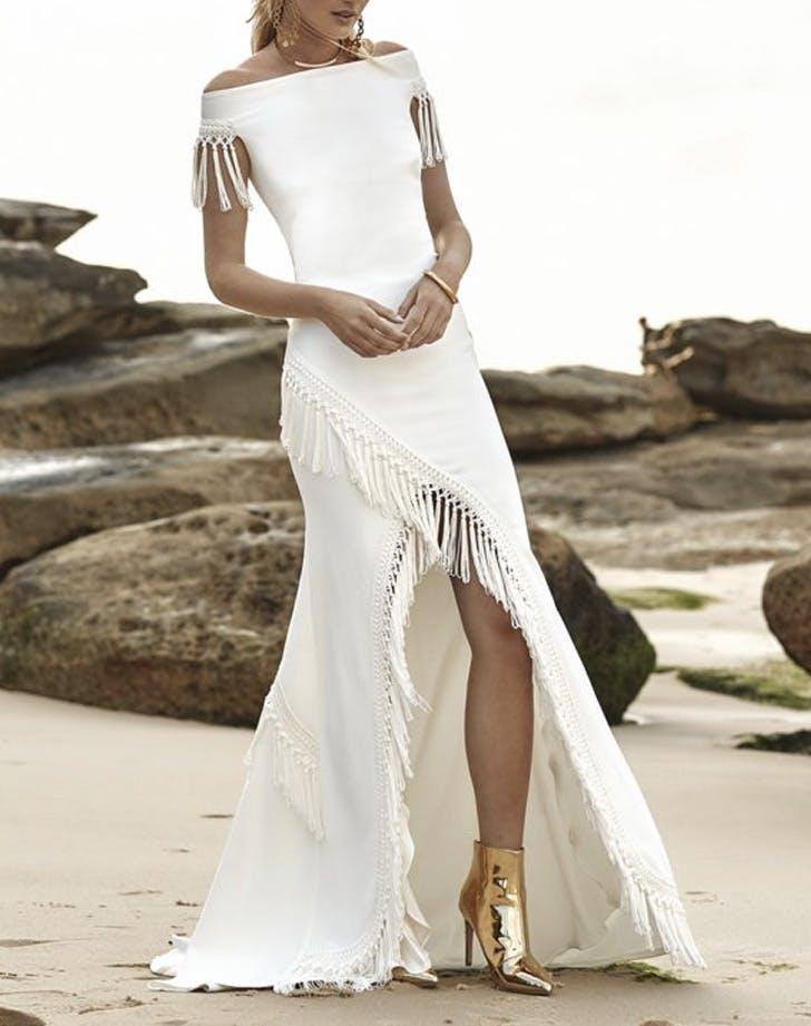 off shoulder fringe wedding dress