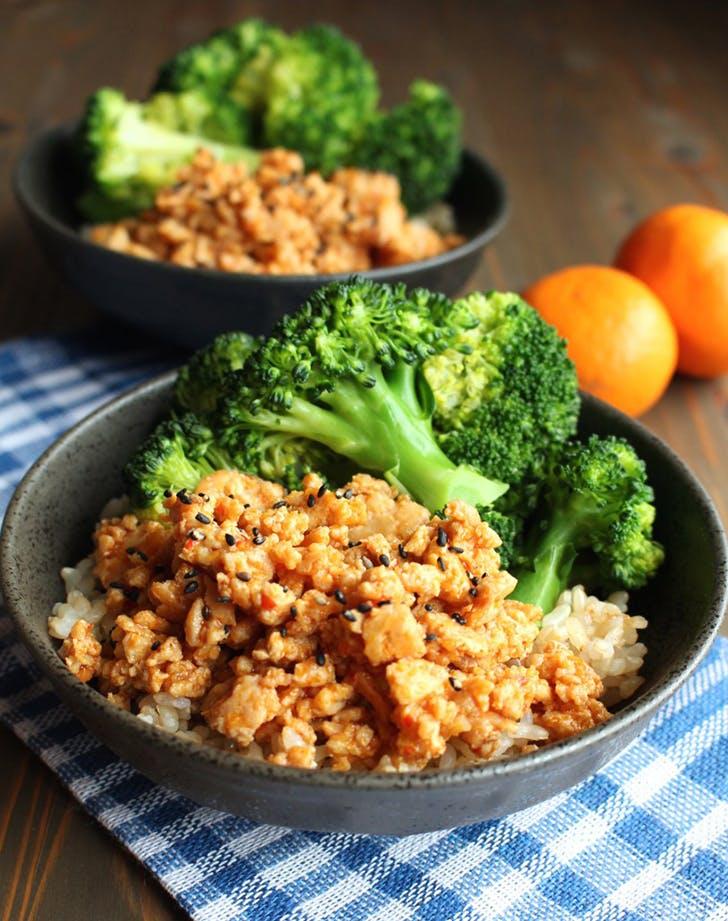 orange ground chicken rice bowls recipe