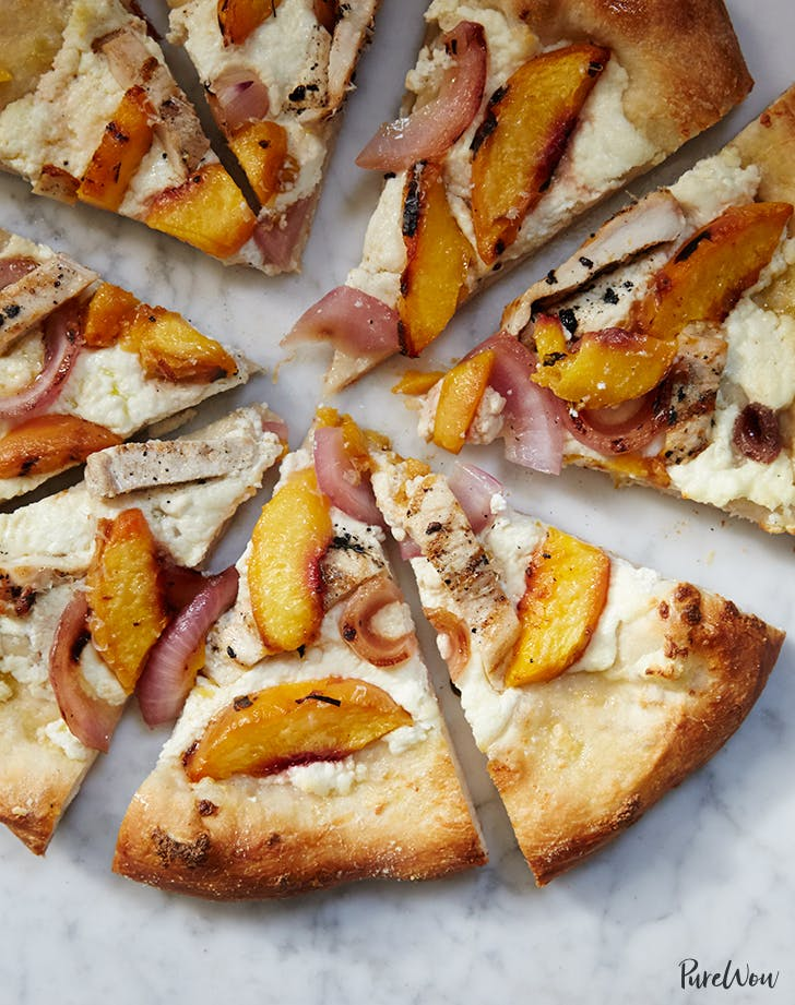 Grilled Peach Chicken And Ricotta Pizza Purewow