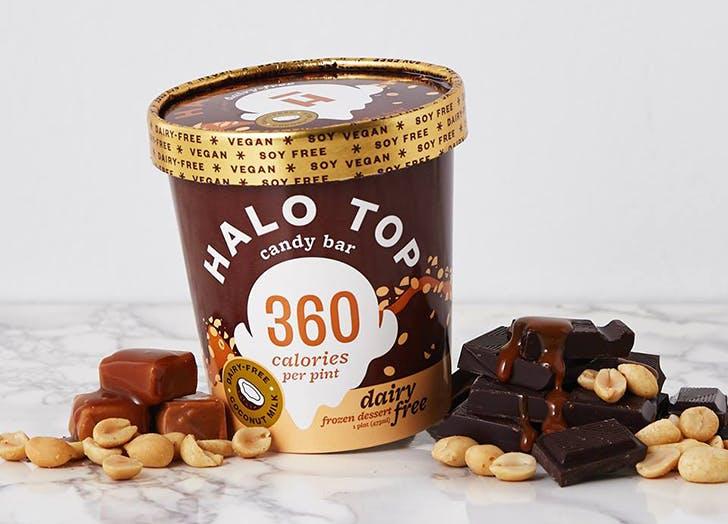 pint of halo top candy bar ice cream
