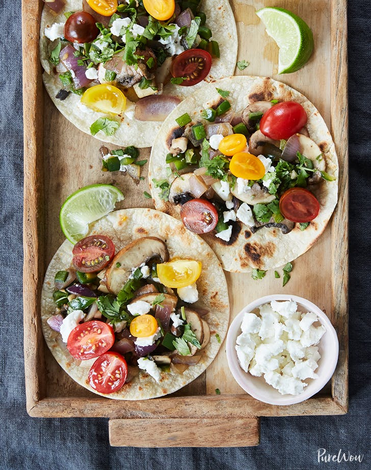 poblano mushroom tacos with tomatoes and goat cheese recipe1