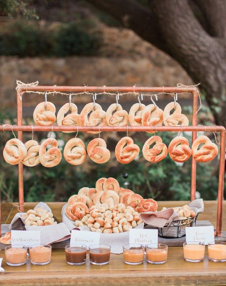pretzel snack bar at a wedding reception