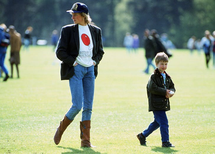 princess diana wearing jeans and a baseball cap