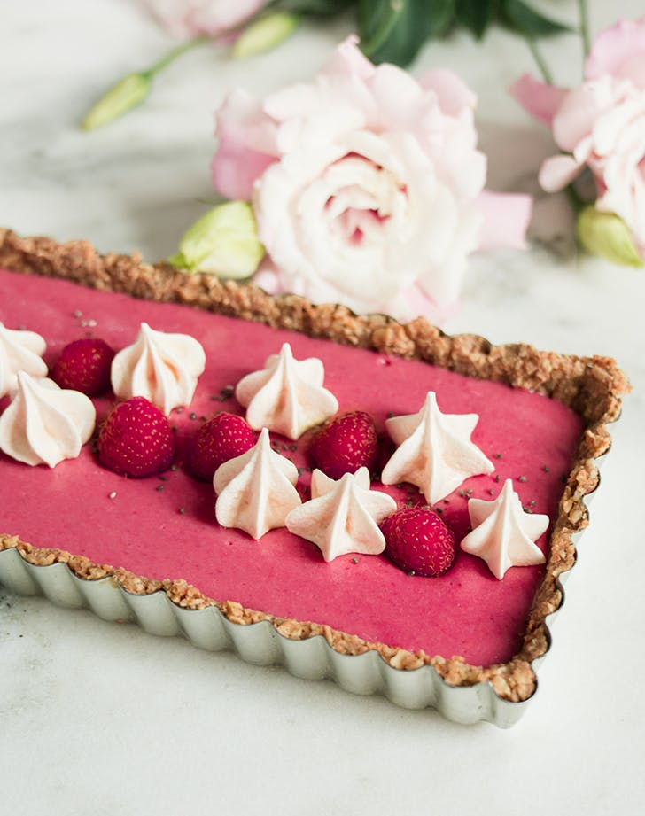 Raspberry Beet Tart with Oat Walnut Crust