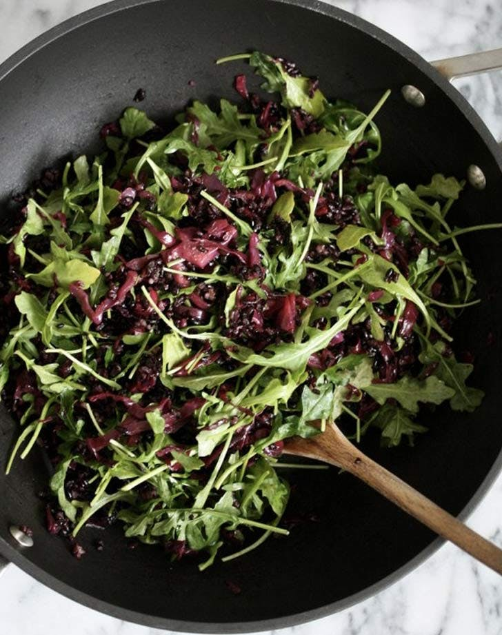 red cabbage slaw black rice