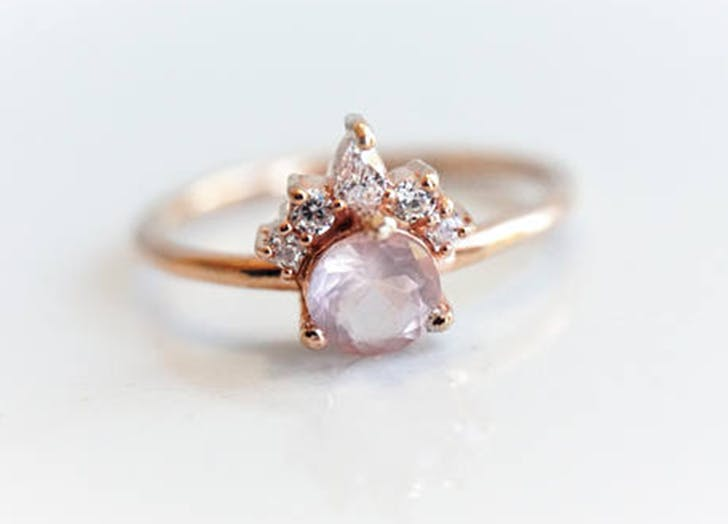 rose quartz healing crystal engagement ring