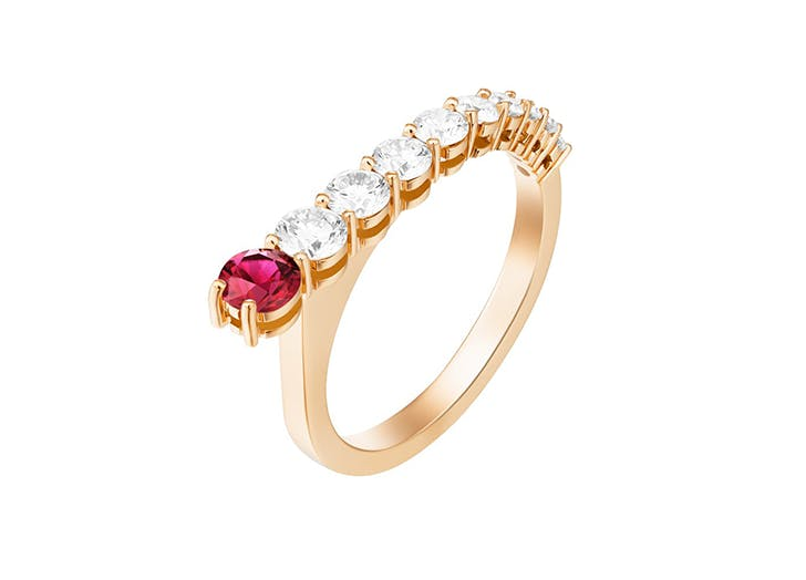 ruby healing crystal engagment ring