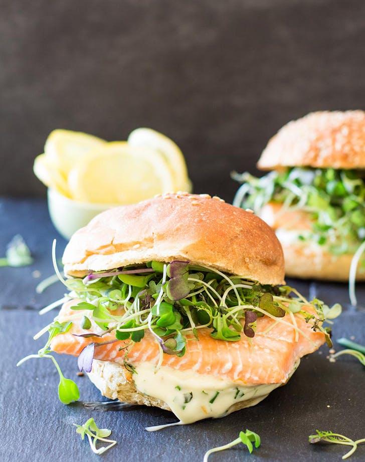 salmon burger with garlic herb mayonnaise recipe