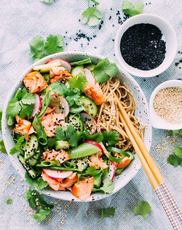 salmon tamari soba noodle salad recipe
