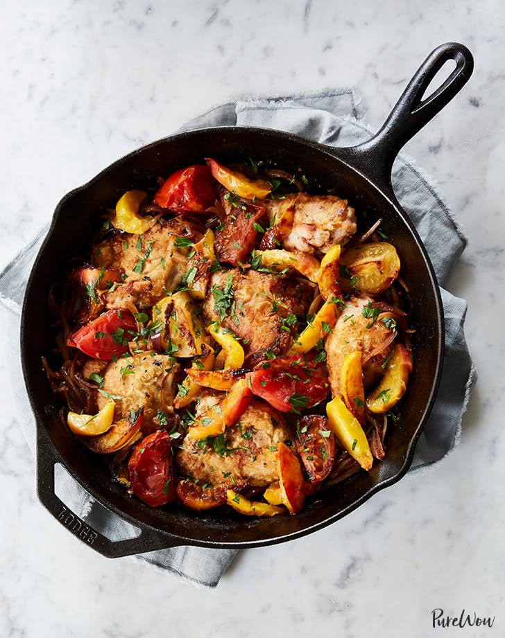 skillet roast chicken with peaches tomatoes red onion recipe1