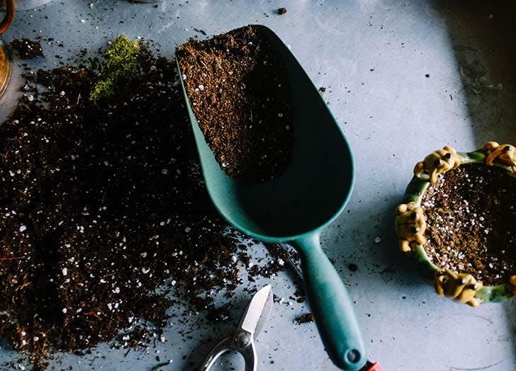 soil in shovel