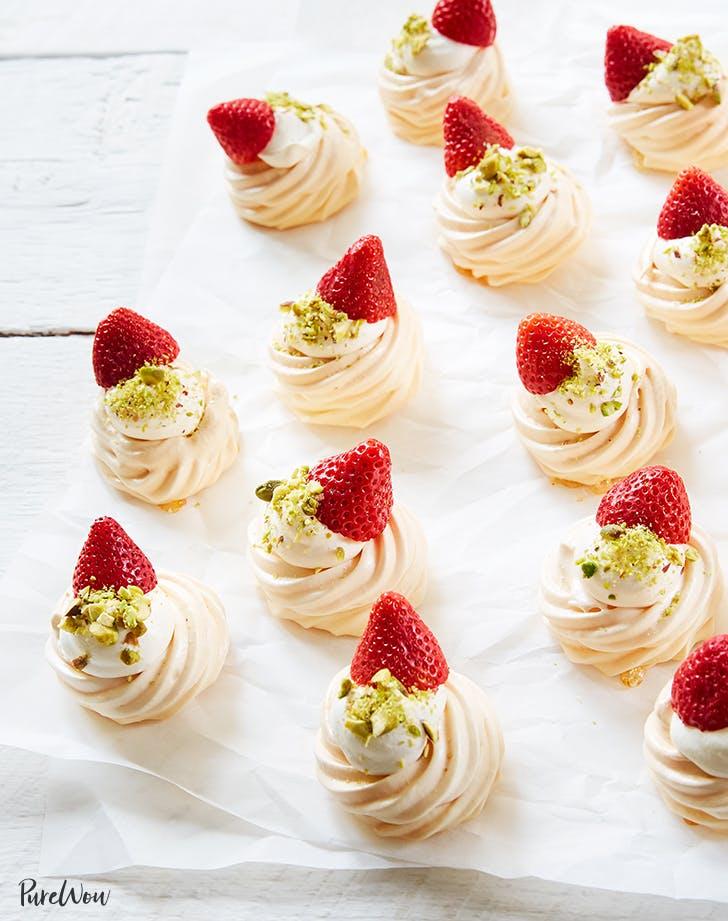 Strawberry, Cardamom and Pistachio Pavlova Bites