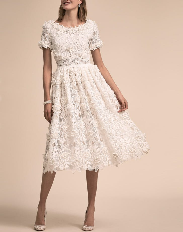 tea length textured wedding dress