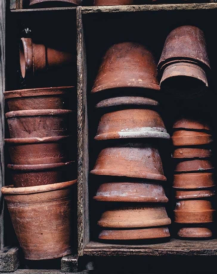 terracotta pot stacks