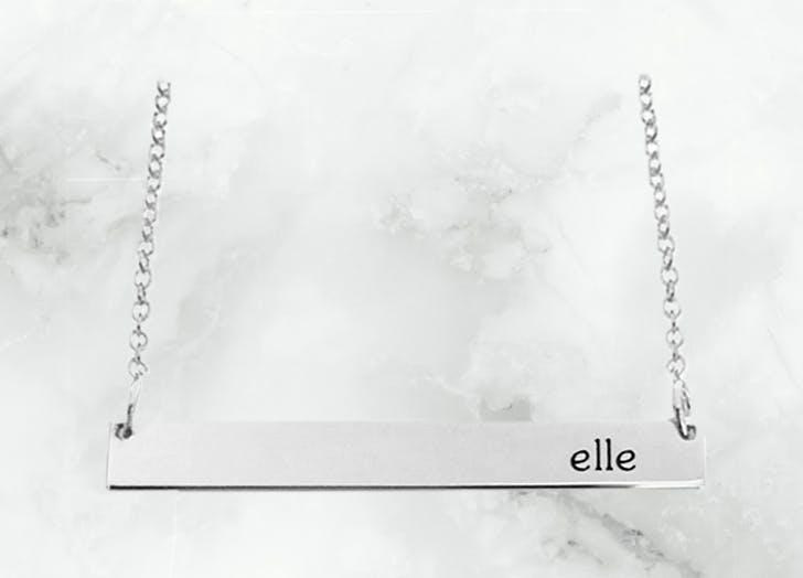 tiny tags bar necklace