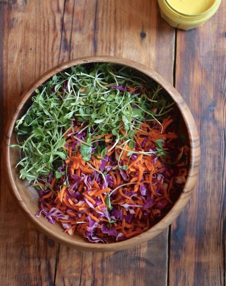 tumeric cole slaw green carrotts