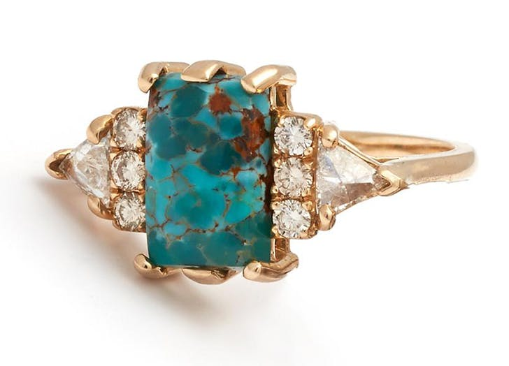 turquoise healing crystal engagment ring