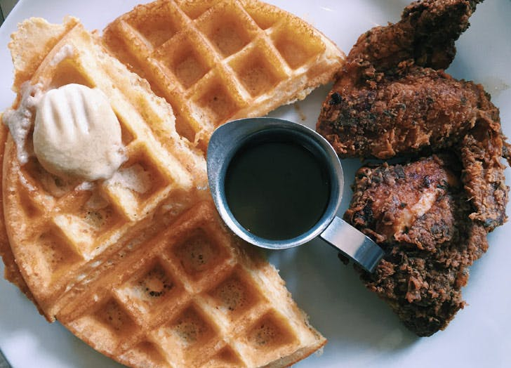 waffles chicken syrup