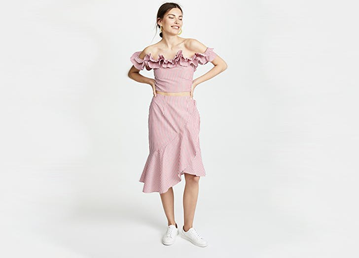 wayf ruffled top and skirt