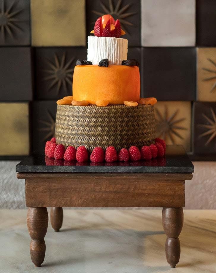wedding cheese wheel cake 1