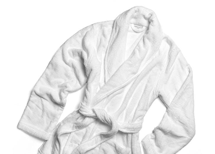 white bathrobe from parachute