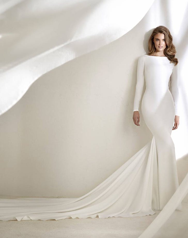woman wearing an atelier pronovias wedding gown