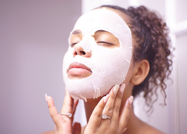 woman doing a face mask