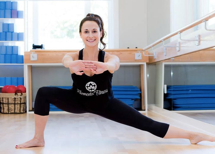 woman stretching lunge