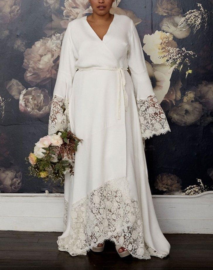 wrap style wedding dress
