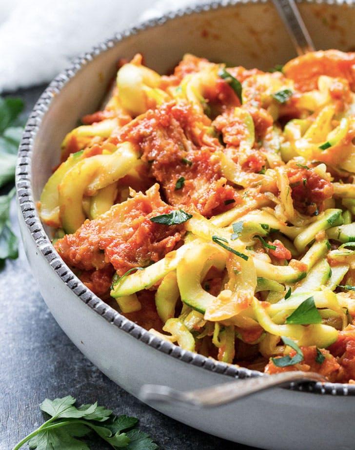 zucchini pasta with sun dried tomato sauce recipe
