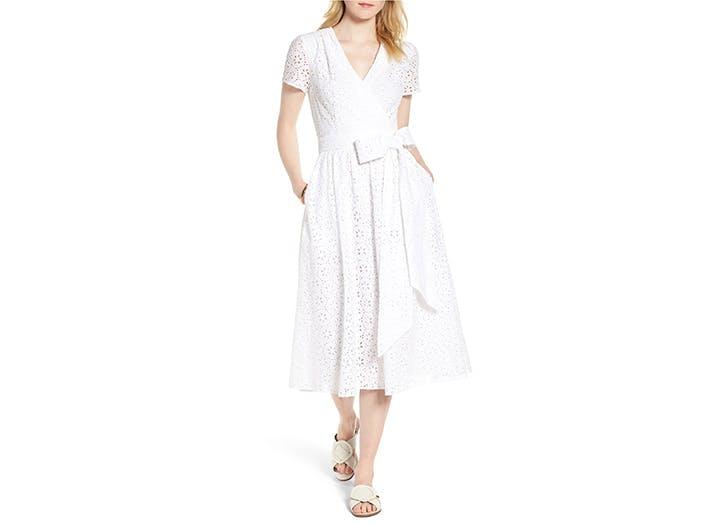 1901 Cotton Eyelet Short Sleeve Dress