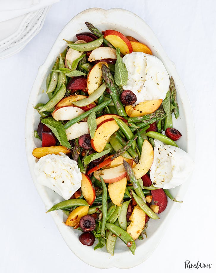 Burrata Salad with Stone Fruit and Asparagus recipe 9211