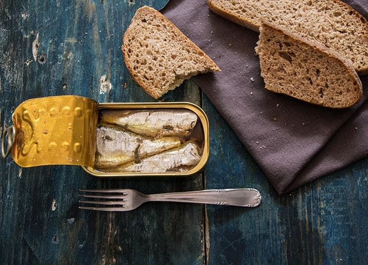 Calcium rich sardines and whole wheat bread