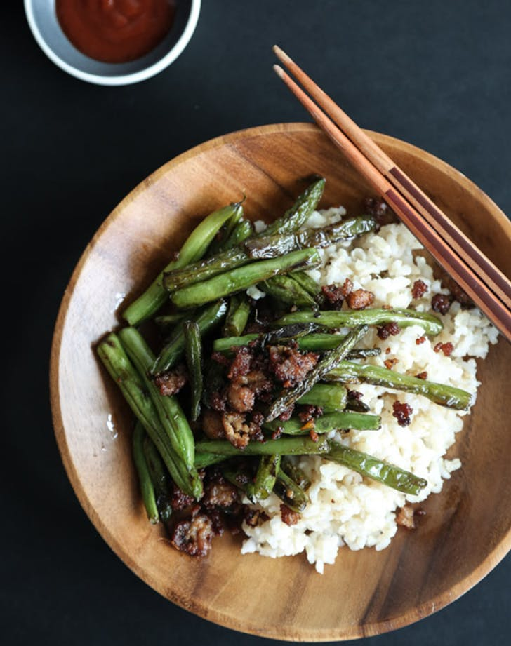 Chinese Stir Fry Green Beans with Pork  Ginger and Chives clean eating stir fry recipe
