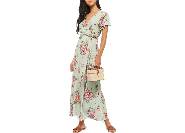 Forever21 mint green floral maxi