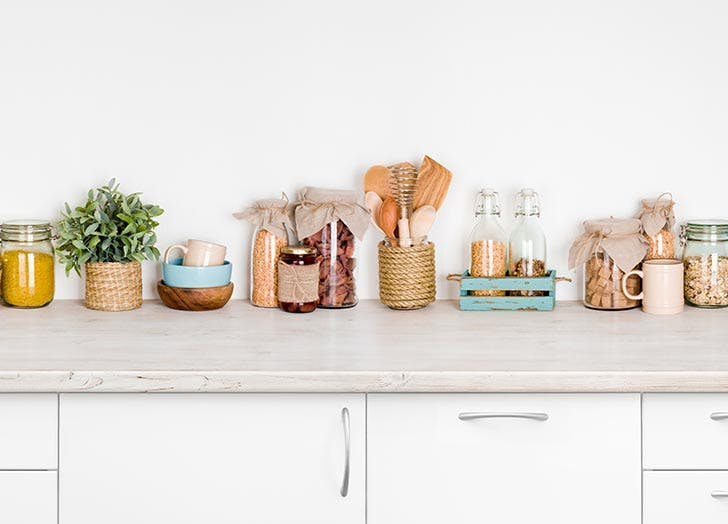 Glass containers in the kitchen