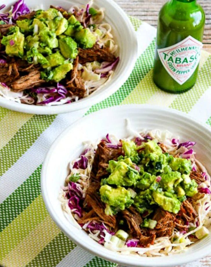 Green Chile Shredded Beef Cabbage Bowl ketogenic recipe