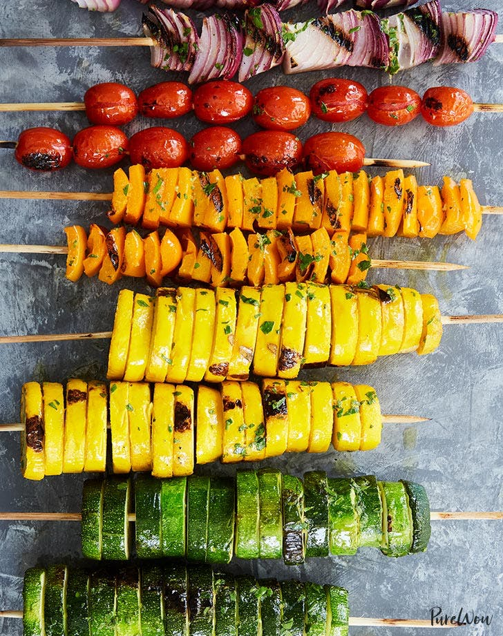 Rainbow veggie skewers fourth of july dish