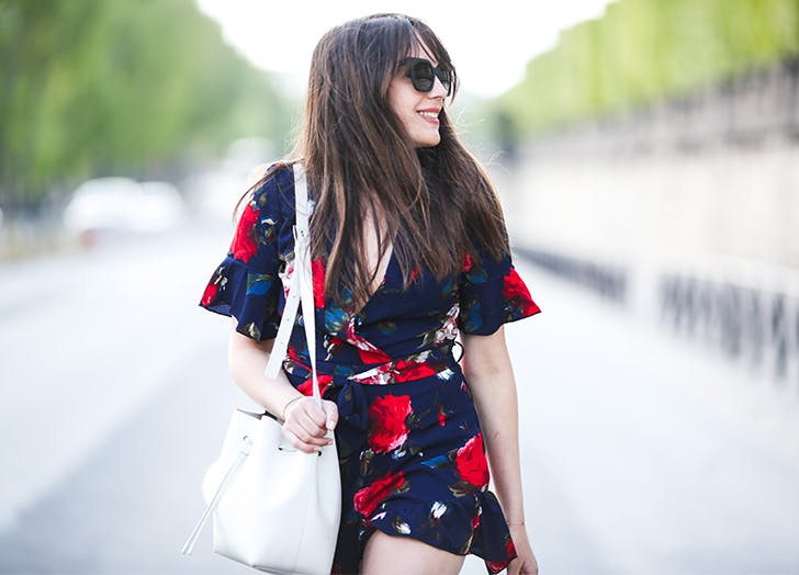 Red white and blue floral dress white bag
