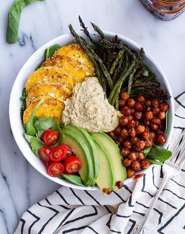 Spicy BBQ Chickpea and Crispy Polenta Bowls Side Dish