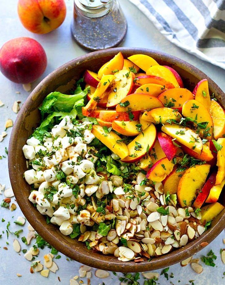 Summer Peach Balsamic Caprese Salad recipe