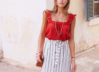 Woman wearing sezane eyelet top in red cat